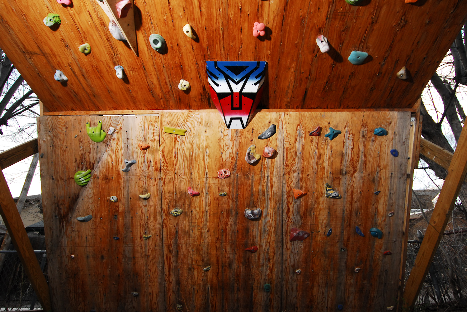 Close-up of the Climbing Wall Featuring Optimus Prime