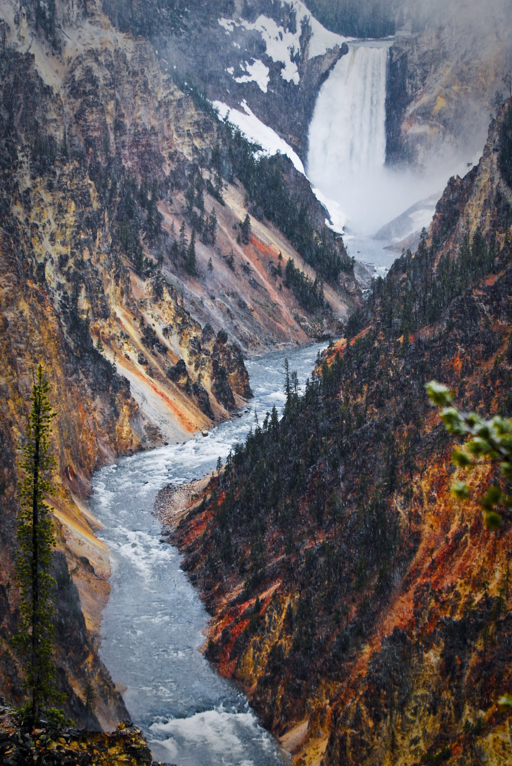 Grand Canyon of the Yellowstone during a rainstorm
