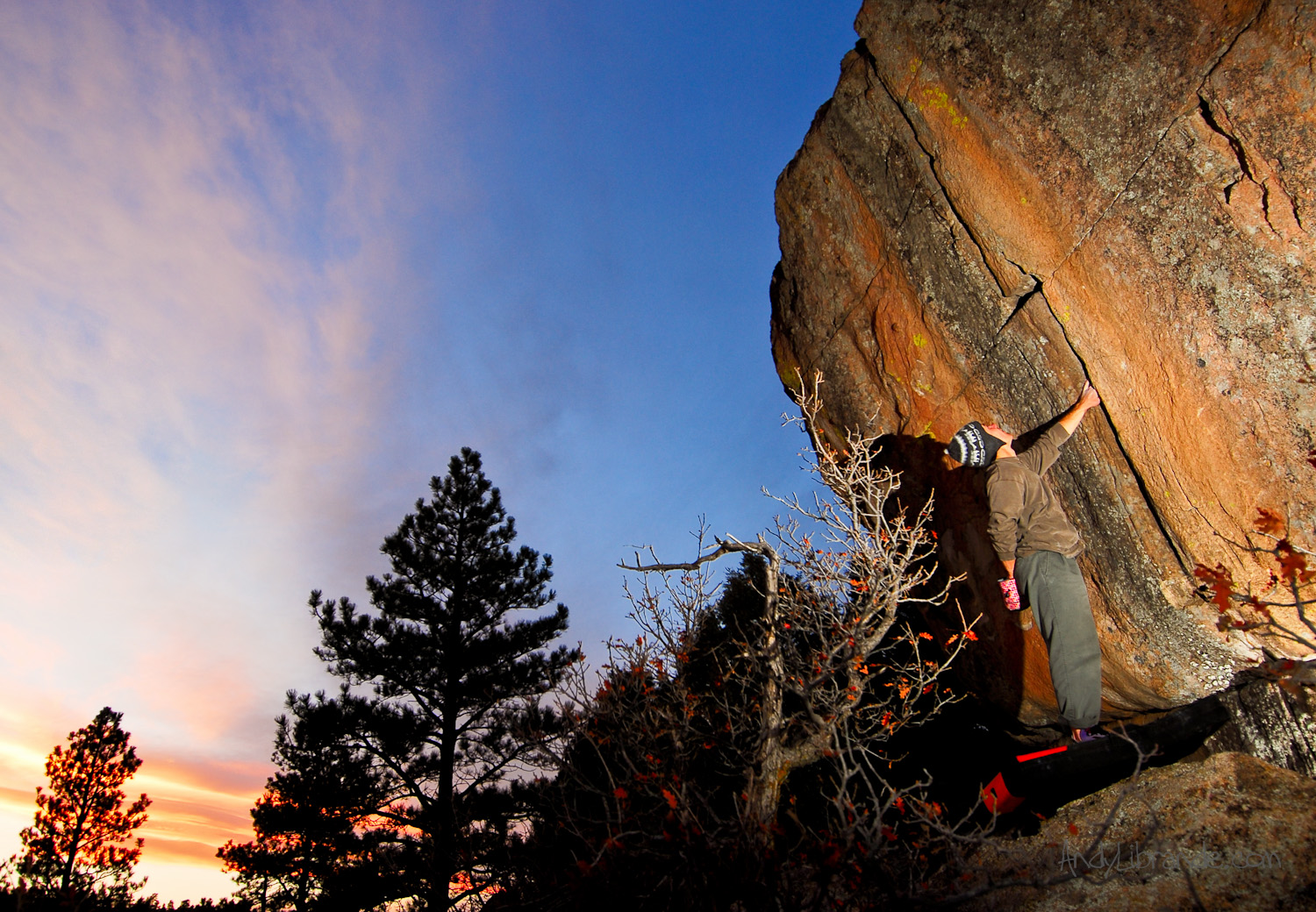 Crack climbing at Castlewood Canyon State Park Colorado