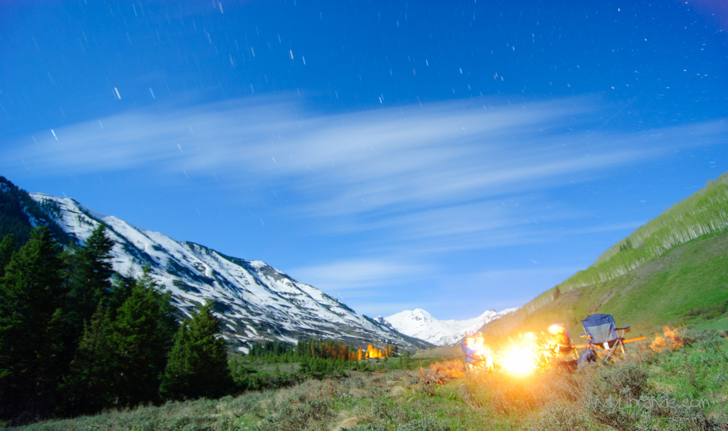 Crested Butte Car-camping under a full moon