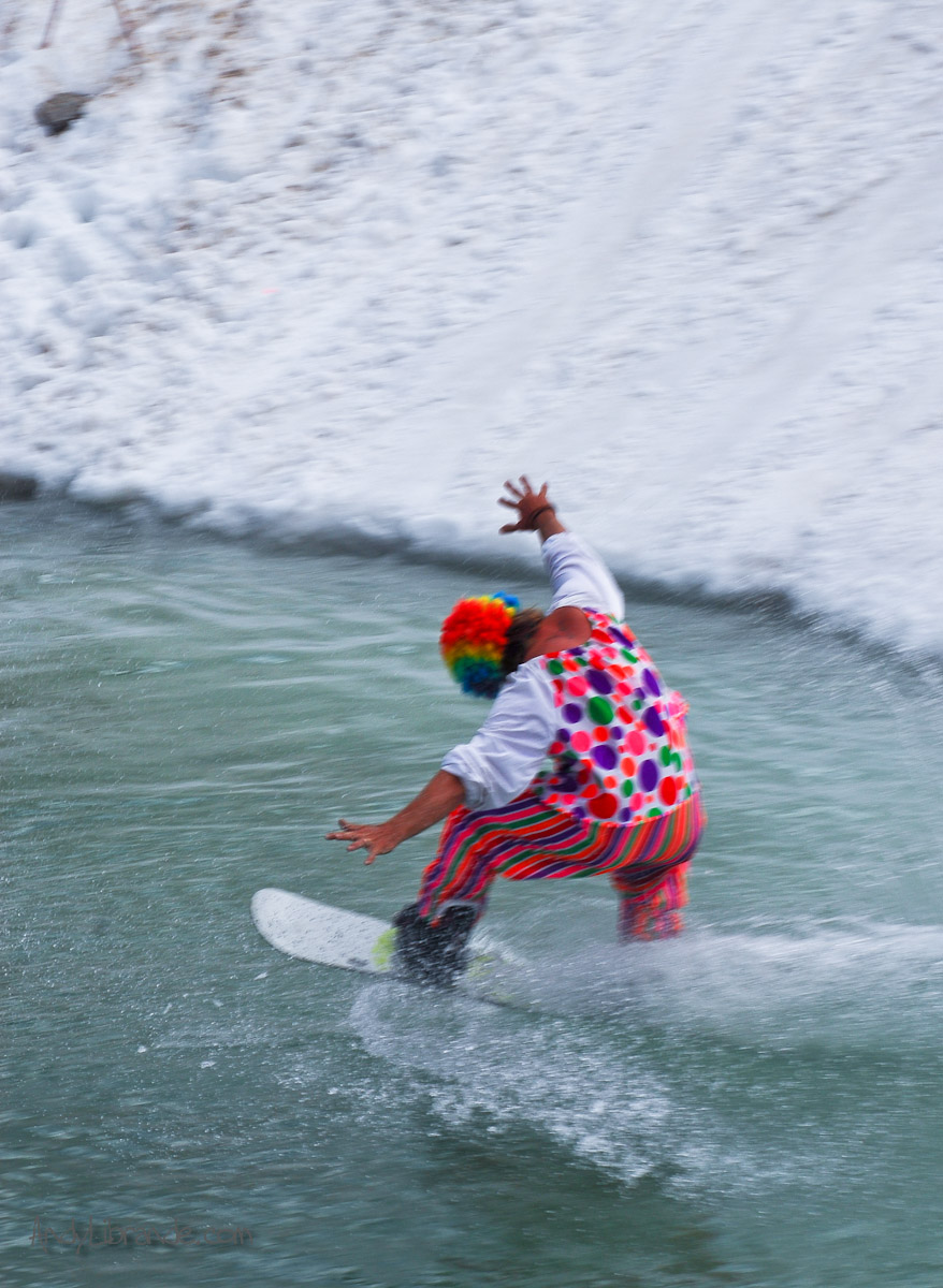 Pond skimming fall in clown suit
