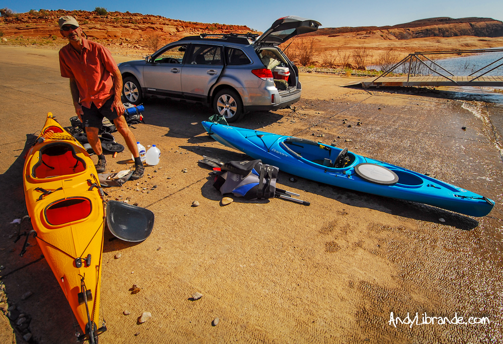Kayaks at Hall's Crossing Lake Powell