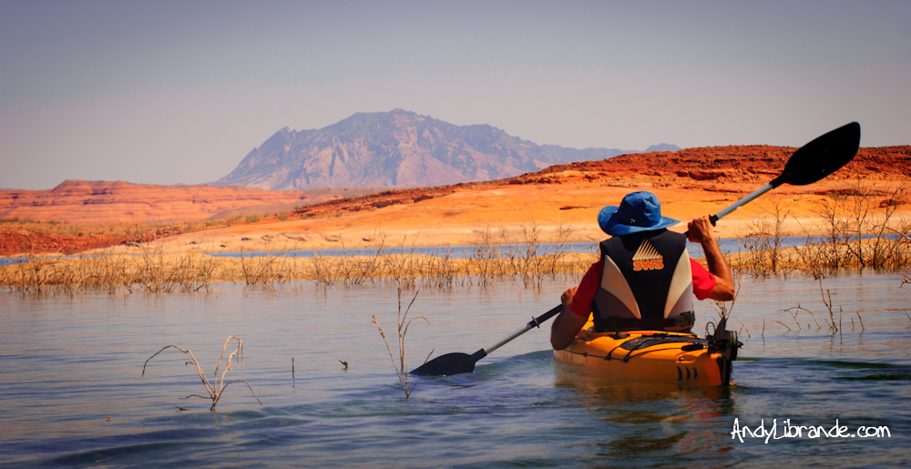 Kayaking in Bullfrog Bay with Mt. Ellsworth in the background