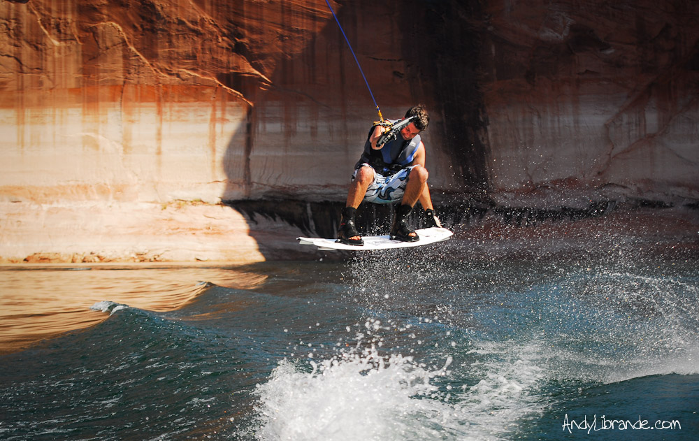 Andy Librande wakeboarding in the Escalante River Arm