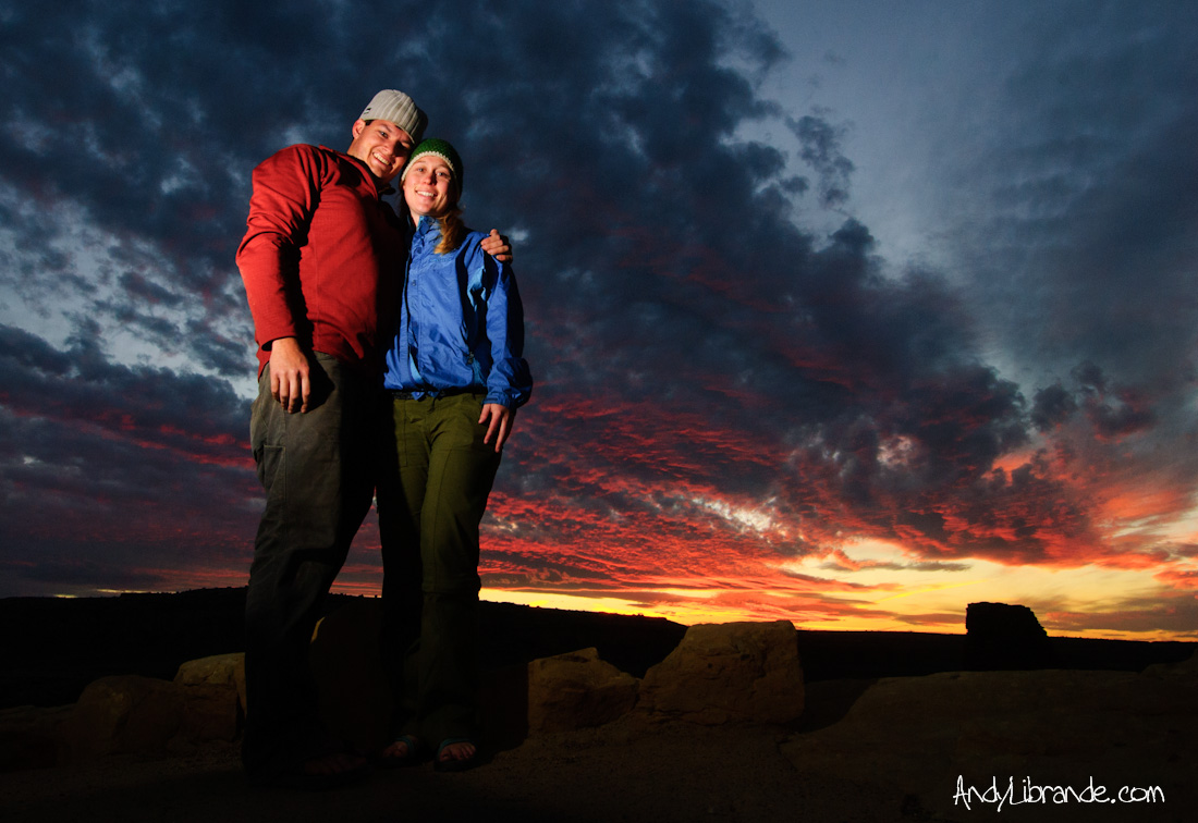 Caitlin and I at Chaco Canyon Sunset