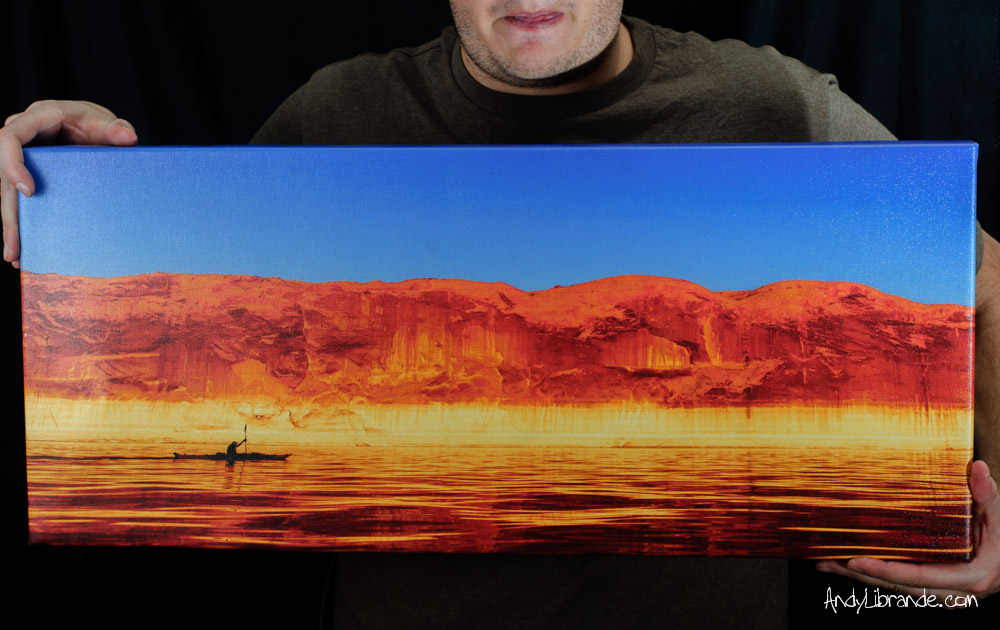 Kayaking Lake Powell Sunset Canvas Print for Sale