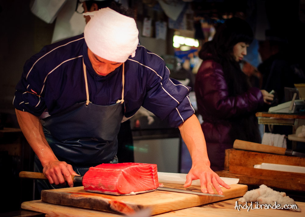 Tsukiji Shop Worker Preparing Tuna