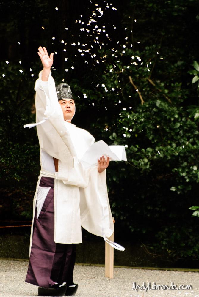 Shinto Preist at Meiji Shrine Tokyo