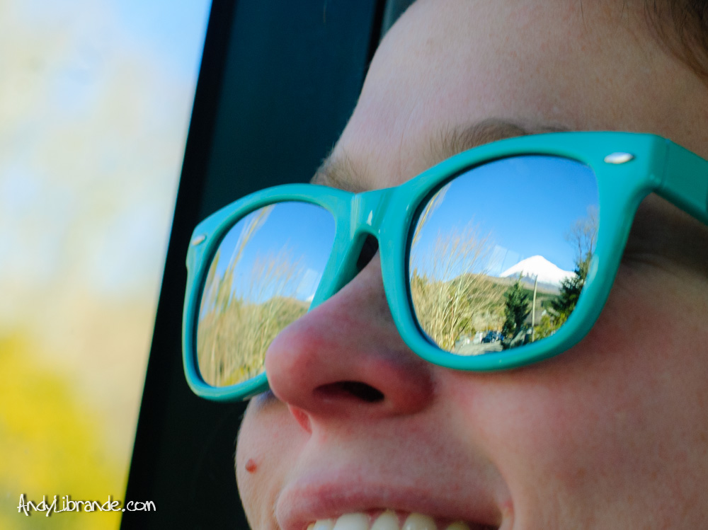 Mt Fuji reflected in sunglasses