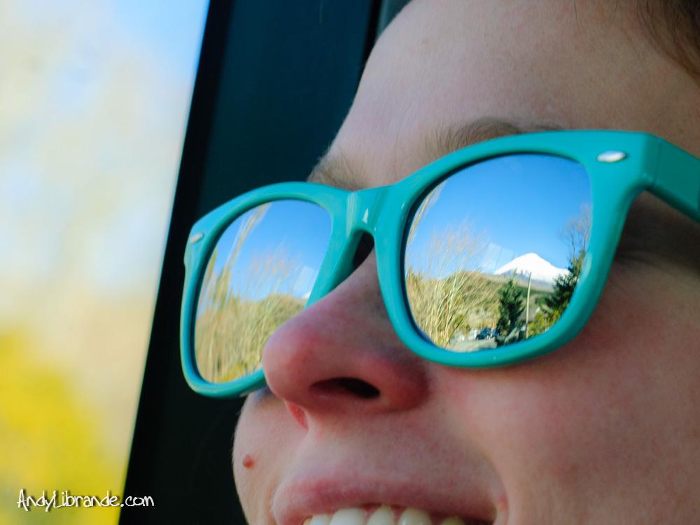 Mt Fuji reflected in sunglasses