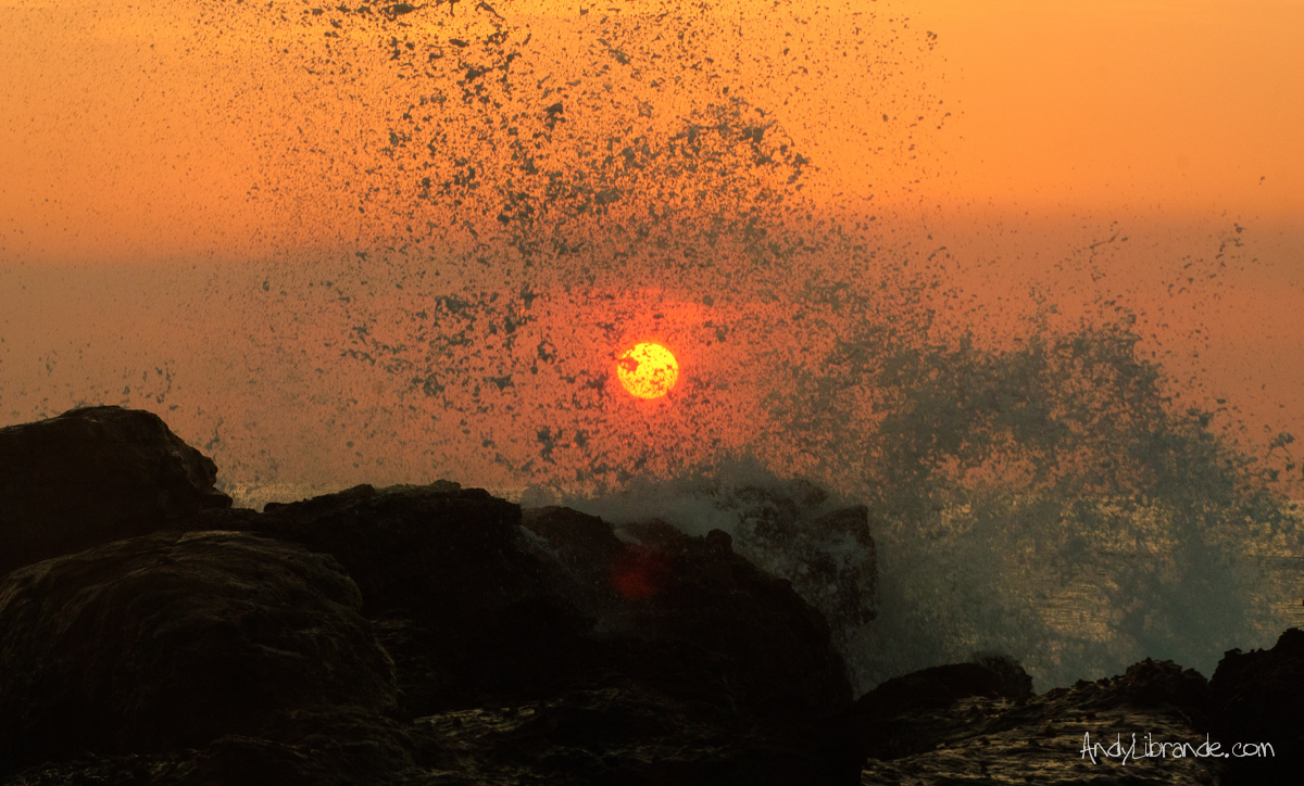 Waves Crashing over Sunset