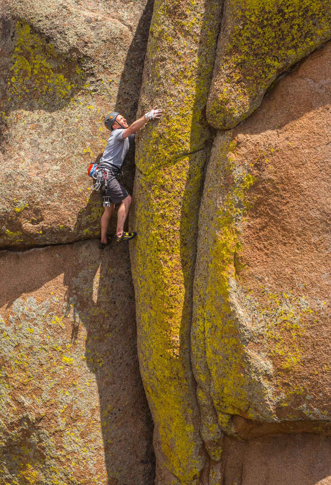 Jake Fell climbing in Vedauwoo