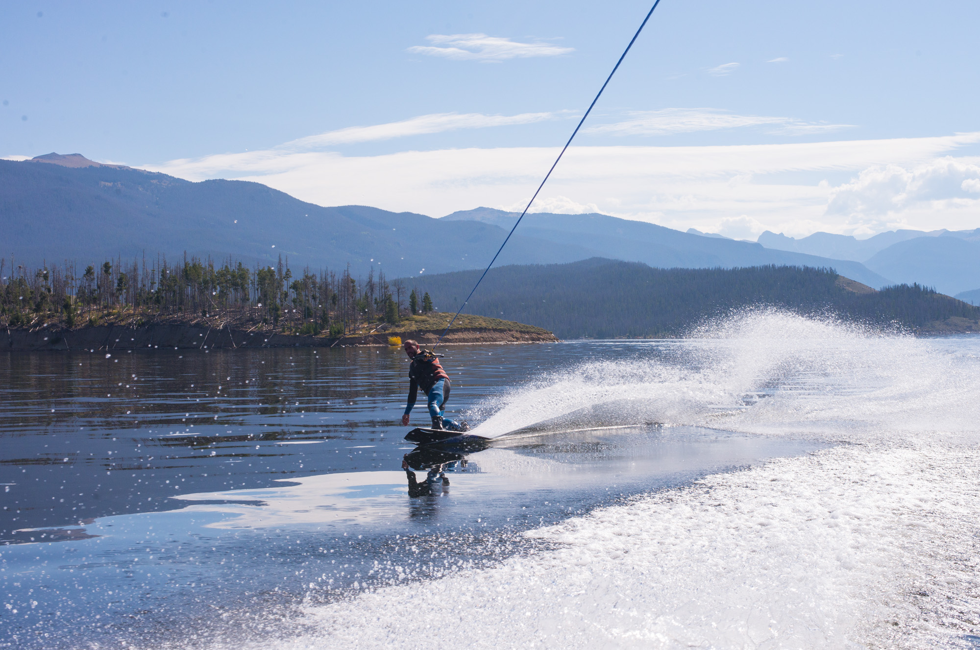 Lake Granby glass wakeboarding
