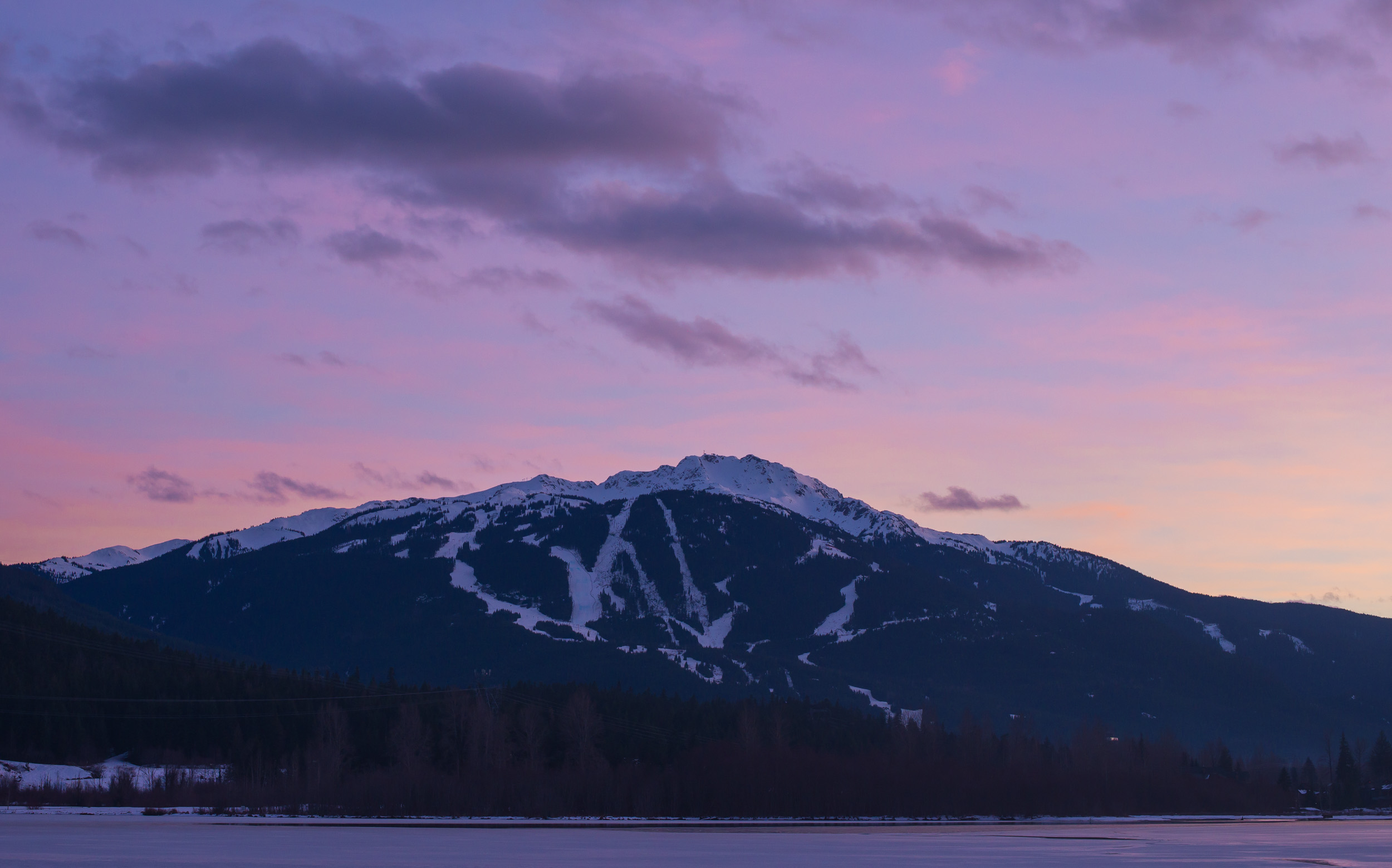 Whistler and Blackcomb Winter Sunset